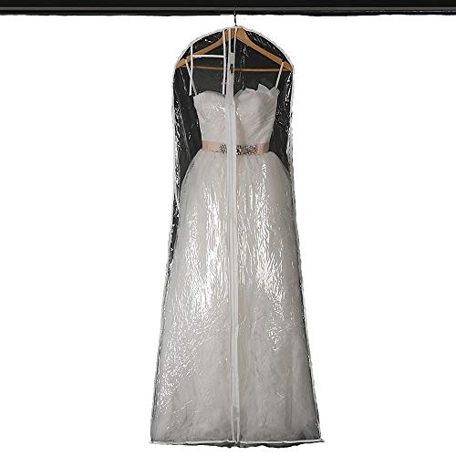 Waterproof Clear Bridal Wedding Gown Dress Garment Bag Storage Protector Cover for Women's Prom and Bridal Wedding Dresses, 160cm/63inch Long