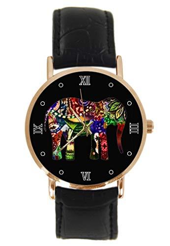 Orologio da polso con elefante colorato, alla moda, classico, unisex, analogico, al quarzo, cassa in acciaio inox, cinturino in pelle