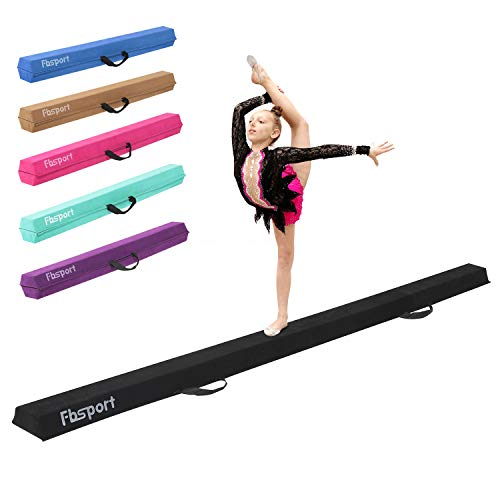 FBSPORT 8ft Balance Beam: Folding Floor Gymnastics Equipment for Kids Adults,Non Slip Rubber Base, Gymnastics Beam for Training, Practice, Physical Therapy and Professional Home Training
