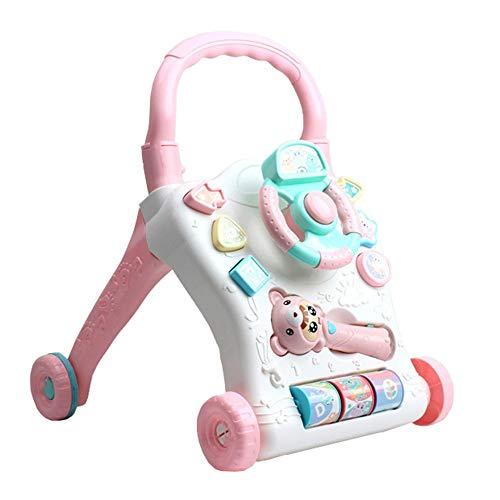 Trotteur Multifonction Early Learning Puzzle Walker Jouets for Enfants Baby Walker Cart 0-2 Ans Cadeau pour Bébé (Couleur : Rose, Taille : 48.5 * 42 * 40CM)