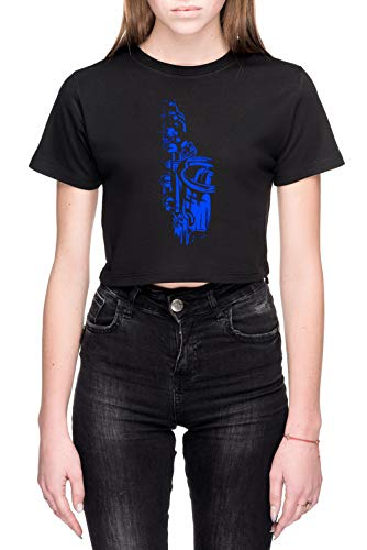Saxofoon Keywork Dames Crop T-Shirt Zwart Women's Crop T-Shirt Black