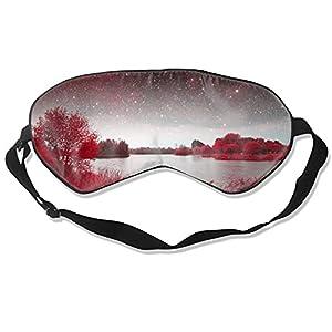 Starry Aky – Maschera per occhi con paesaggio rosso, per dormire, morbida e soffice, per donne e uomini, 99% copertura per gli occhi, per viaggi, turni, lavoro