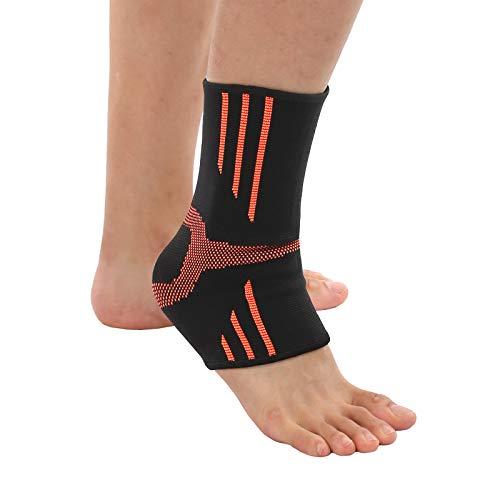 AMZSPORT Knöchelbandage Elastische Sprunggelenkbandage Fußbandage für Achillessehne Sport Fußgelenk Bandage für Herren Damen (1 Paar, Orange)