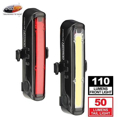 Cygolite Hotrod 110 Lumen Front Light & Hotrod 50 Tail Light USB Rechargeable Bike Light Combo Set