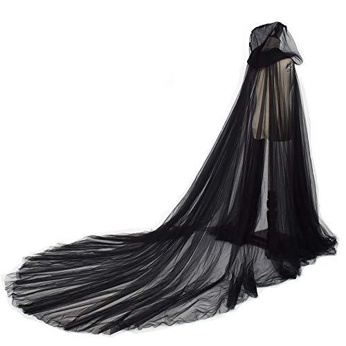 GRACEART Damen Tüll Umhang Hochzeit Mantel mit Kapuze Lange Jacke Braut Wraps Cape (schwarz)