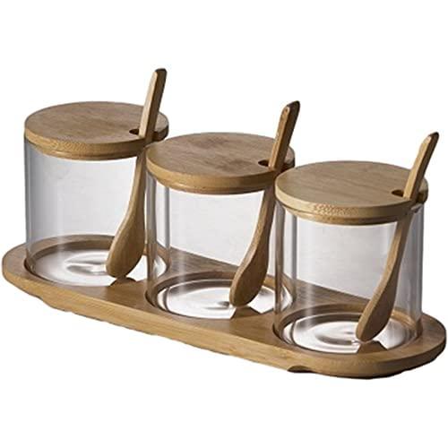 Spice potten hoge borosilicaat glazen kruiden jar bamboe cover keuken benodigdheden kruiden box thuis creatieve kruiden…