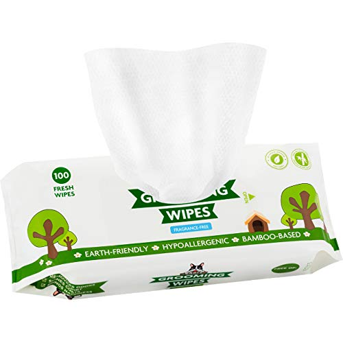 Pogi's Grooming Wipes - 100 Hypoallergenic Pet Wipes for Dogs & Cats - Plant-Based, Fragrance-Free, Deodorizing Dog Wipes