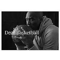 神戸ブライアントポスターウォールアートデコレーションキャンバスプリント、NBAオールスターバスケットボールレジェンドブラックマンバとインスピレーションを与える言葉写真ポスター、ギフト,グレー,50×75cm