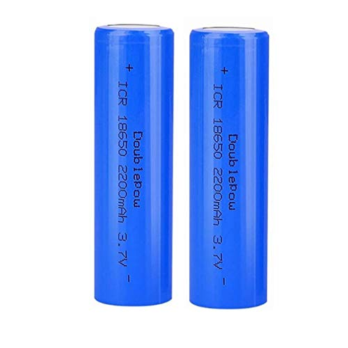 18650 batteria al litio ricaricabile 3,7 V 2200 mah a piena capacità, sicura rispettosa dell'ambiente, batteria universale adatta per torcia e radio, gadget elettronici, ecc. 2 pezzi (blu) (flat head)