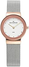 Skagen Women's Ancher Quartz Analog Stainless Steel and Mesh Watch, Color: Rose Gold/Silver (Model: 358SRSC)