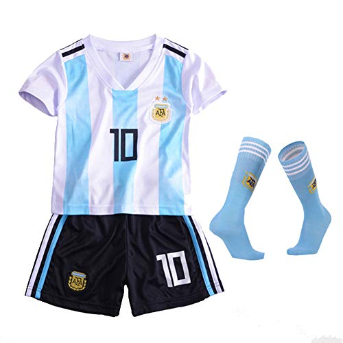 jersey Argentina No. 10 Messi Brasil No. 10 Neymar Juego de Ropa de fútbol para niños 2018 para niños,Messi,28(150to160cm)