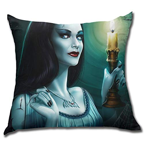 WangJhjfg Lily Munster Throw Pillow Decorative Pillow Case Home Decor Square 17.7 X 17.7 Inch Pillowcase Cushion Case for Sofa Bedroom Or Living Room Decorative Pillow Case