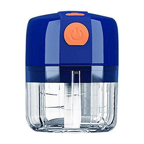 Electric Wireless Mini Food Processors,Blender Chopper for Fruits Vegetables Chilis Onions Nuts Pepper Ginger Salad Meat Ice, Mini Food Grinder,Baby Mini Blender,Garlic Mincer (250ml, blue)