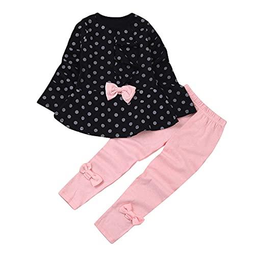 sunnymi Conjunto de ropa para niños de 1 a 6 años y niñas con estampado de lunares, camiseta y pantalones. azul oscuro 1-2 Años