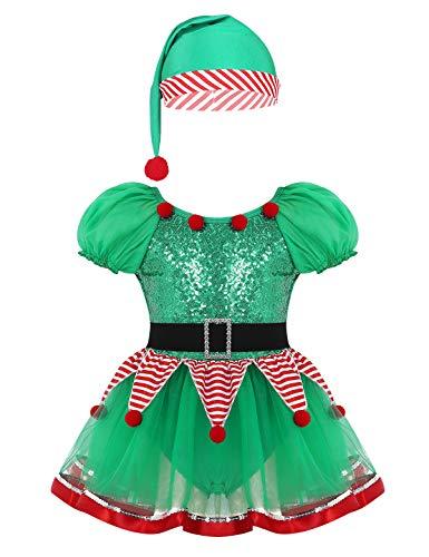 YiZYiF Disfraz Duende Elfo Niñas Vestido Navideño Traje Papá Noel con Sombrero 2Pcs Conjunto Navideño Disfraces Payaso Circo Navidad Día de Reyes Fiesta Cumpleaños Verde B 2 Años