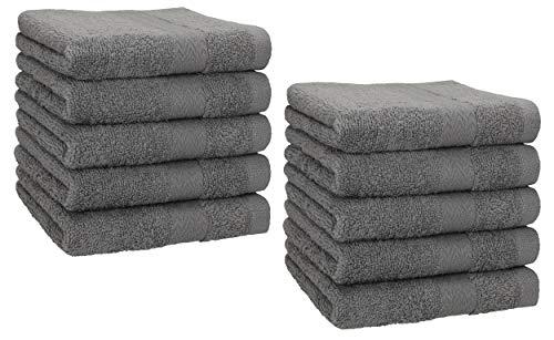 Betz Lot de 10 Serviettes débarbouillettes lavettes Taille 30x30 cm en 100% Coton Premium Couleur Anthracite