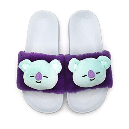 Zapatos BTS BTS Zapatillas antibalas for Grupos Juveniles |Zapatillas de Mujer Sandalias Planas de PVC de Deslizamiento Suave con Zapatos Casuales de Piel sintética cálida y esponjosa/hogar/antide