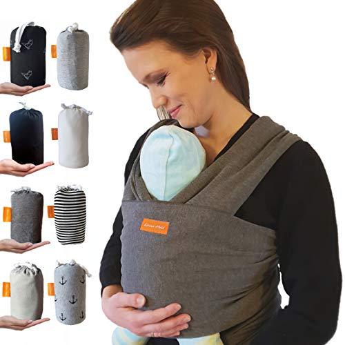 Kleiner Held® Baby Tragetuch - hochwertiges elastisches Tragetuch - Babytrage für Früh- und Neugeborene Babys ab Geburt bis 15 kg inkl. Bindeanleitung und Aufbewahrungstasche I dunkelgrau