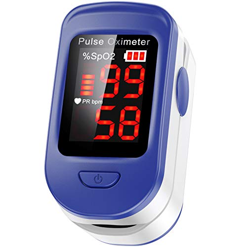 AGPTEK Oxímetro de Pulso, Pulsioxímetro de Dedo Digital con Pantalla LED, Lectura Instantánea, Color Azul
