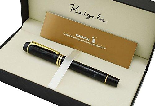 Kaigelu lujo celuloide pluma estilográfica con cartucho de tinta convertidor, firma antiguo de caligrafía bolígrafos Ejecutivo de negocios con caja de regalo (color negro con gris mármol)