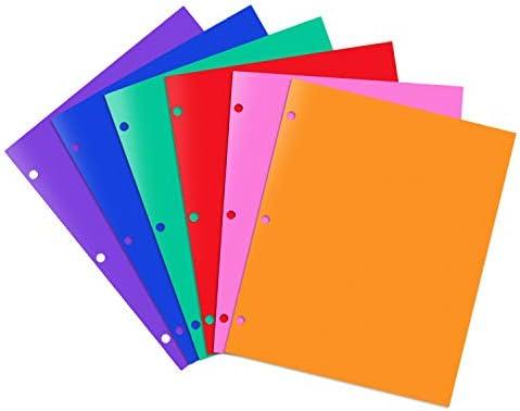 INFUN Plastic Folders with Pockets Heavy Duty 2 Pocket Folders with 3 Hole School Binder Folders product image