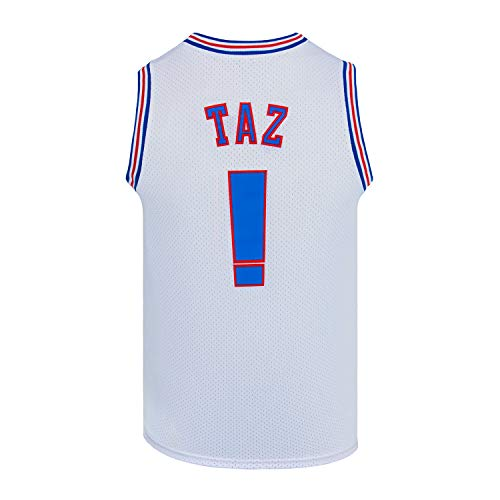 Youth Basketball Jersey Taz Space Jam Jersey Kids Sport Shirts White/Black (White, Youth Large)