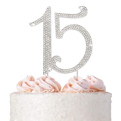 Premium Metal Silver Rhinestone Quinceañera, 15th Birthday Gem Cake Topper. Bday or Anniversary Party Keepsake and Decoration. Sparkly, Crystal and Diamond Style Bling Is a Great Centerpiece 15 Silver