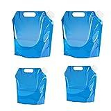 Osuter 4PCS Bidón de Agua Plegable, Plastico Contenedor de Agua Portátil Envase de Agua Depósito para Senderismo Camping Picnic Travel BBQ(5L /10L)