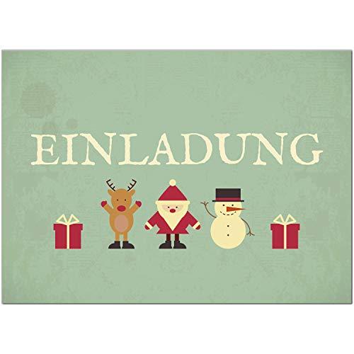 15 x Einladungskarten mit Umschlag zur Weihnachtsfeier/Motiv: Vintage Grün Look/Weihnachten/Christmas Party/Einladung/für Firmen