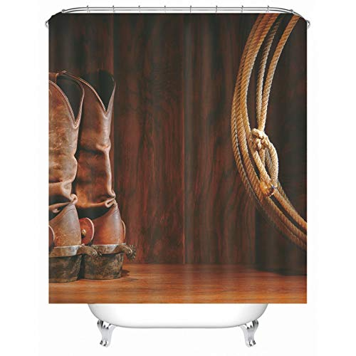 Rubyia Großer Duschvorhang, Schuhe Seil 3D Muster Bath Shower Curtain mit Haken, Polyester, Braun, 180 x 200 cm