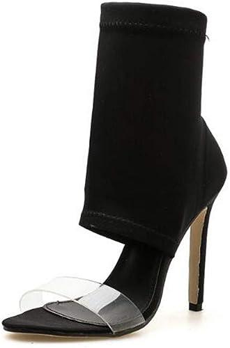 MKHDD Femmes Stretch Tissu Bottes Gladiateur Sexy Sexy Slip-on Peep Toe Chaussures Talons Bottines pour Le Mariage De Partie  le dernier