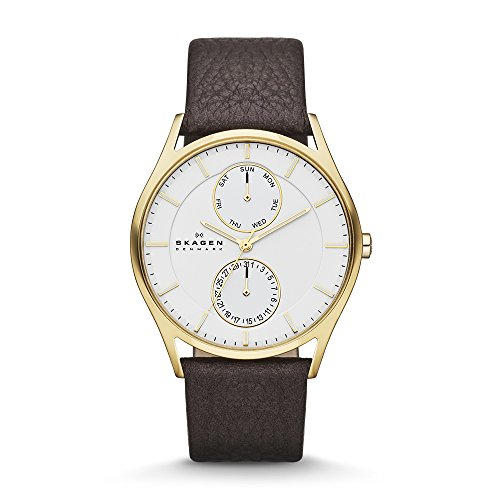 Skagen Men's Holst Quartz Stainless Steel and Leather Casual Watch, Color: Gold-Tone, Brown (Model: SKW6066)
