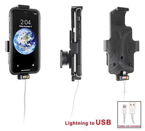 Brodit 514998 Apple iPhone X KFZ Halterung kompatibel mit Original Ligtning Kabel verwendbar mit oder ohne Schutzhülle, Schwarz