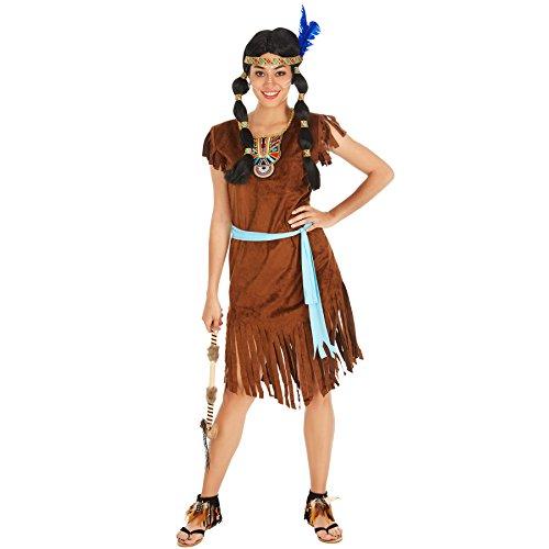 TecTake dressforfun Frauenkostüm Indianerin | Kleid + Gürtel | Indianer Cowboy Verkleidung (L | Nr. 300623)