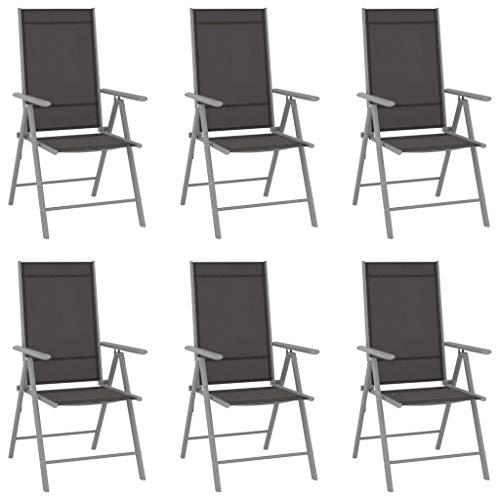 vidaXL 6X Sillas de Jardín Plegables Reclinables Sillón Terraza Exterior Balcón Patio Asiento Butaca Mobiliario Muebles Textilene Negro