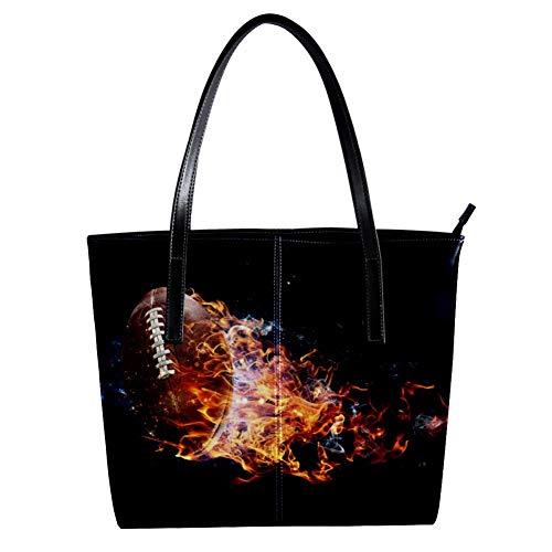 TIZORAX American Football Damen-Handtasche aus PU-Leder mit Feuerrauchmotiv