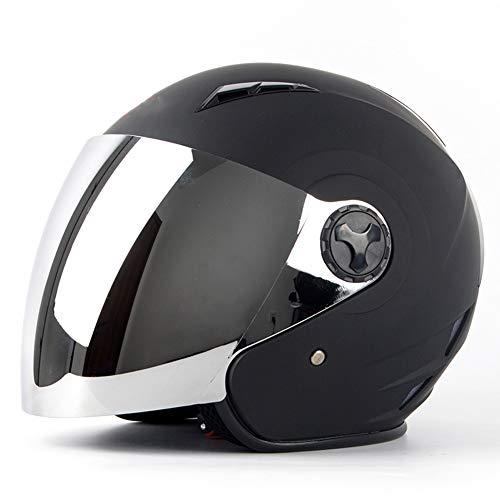 YHDQ Matte zwarte motorhelm, geschikt voor professioneel rijden van mannen en vrouwen, beschermende halve helm, schattige lichte helm vier seizoenen warme helm Retro Small verzilverde spiegel
