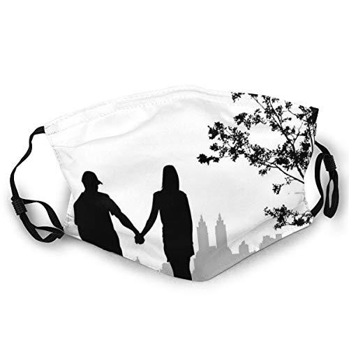 MundschutzWiederverwendbarerMundschutz im Freien,Black and White Illustration of A Couple Walking On Under Trees,NahtloseRänderAußenabdeckungen