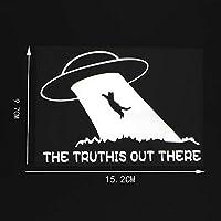 MX-XXUOUO 15.2X9.7cm Truthis Out There Believe InsカーステッカービニールデカールスペースストームUfoブラック/シルバー10A-0141-シルバー,2 PCS