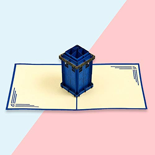 Handmade 3D Handcrafted Gift Icons Police Box/Tardis Pop Up Card