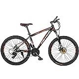 T-Day Bicicleta Montaña Bici De Montaña para Adultos Ruedas De 26 Pulgadas, Marco De Aleación De Aluminio, Frenos De Doble Disco, Suspensión Completa, Colores Múltiples(Size:24 Speed)