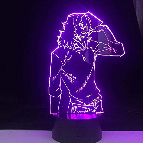 Lámpara LED 3D SHOTA AIZAWA ANIME LAMP MY HERO ACADEMIA Night Light Lámpara de mesa de anime japonés 7 colores sin control remoto