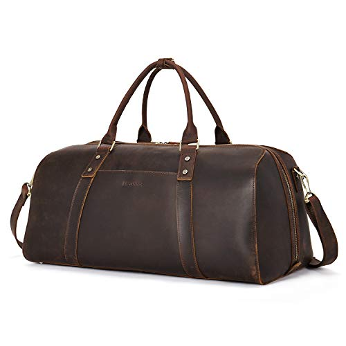 BOSTANTEN Vintage Leather Travel Duffel Bag for Men Shoulder Weekender...