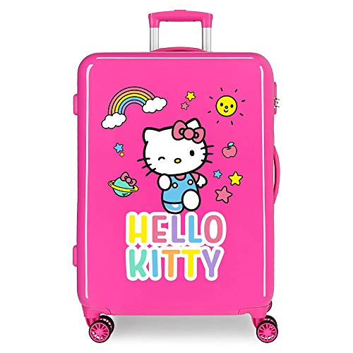Hello Kitty You Are Cute Maleta Mediana Rosa 48x68x26 cms Rígida ABS Cierre combinación 70L 3,7Kgs 4 Ruedas Dobles