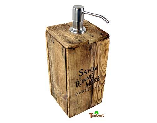Seifenspender aus Altholz Rustikal mit Vintage Aufdruck