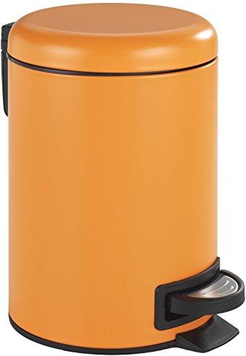 WENKO 22442100 Kosmetik Treteimer Leman Orange-Mattiert, Kosmetikeimer mit Tretmechanismus Fassungsvermögen: 3 l, Stahl, 17 x 25 x 22.5 cm