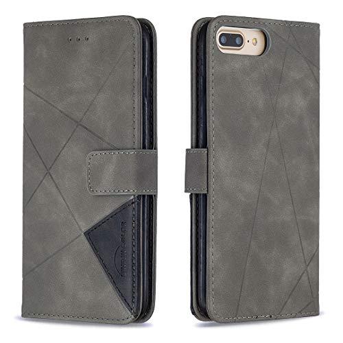 Lomogo iPhone 8 Plus/7 Plus Hülle Leder, Schutzhülle Brieftasche mit Kartenfach Klappbar Magnetisch Stoßfest Handyhülle Case für Apple iPhone 8Plus/7Plus - LOBFE220027 Grau