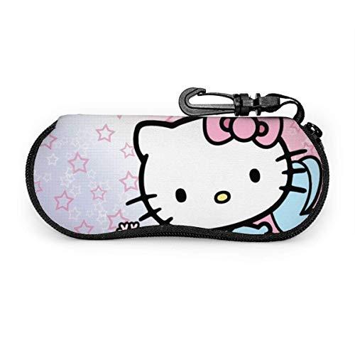Funda para gafas de sol de anime Hello Kitty funda suave para gafas de sol con protección de protección de gafas de neopreno ultra suave y ligero con cremallera para los ojos con ganchos para cinturón