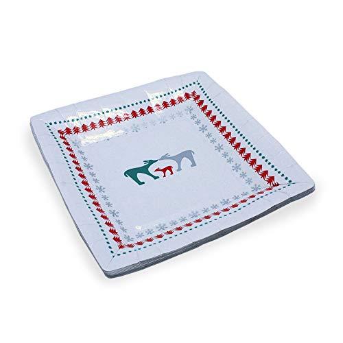 Le Nappage - Platos de cartón reciclado decorados Mi Ciervo Rojo - Cuadrado 18 x 18 cm - Juego de 10 platos de cartón rígido desechables