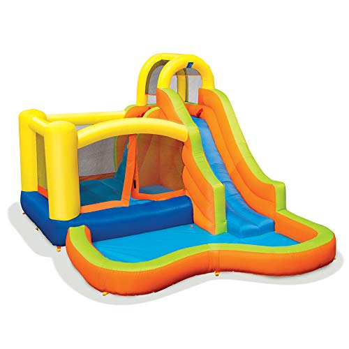 Banzai 28007 Sun 'N Splash Fun 12 x 9 x 7 Foot Kids Inflatable Backyard Bounce House and Water Slide Park Toy with Bouncer, Slide, and Kiddie Pool